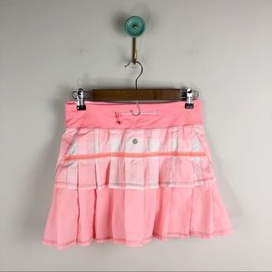 Lululemon Gingham Bleached Coral Pace Setter Skirt